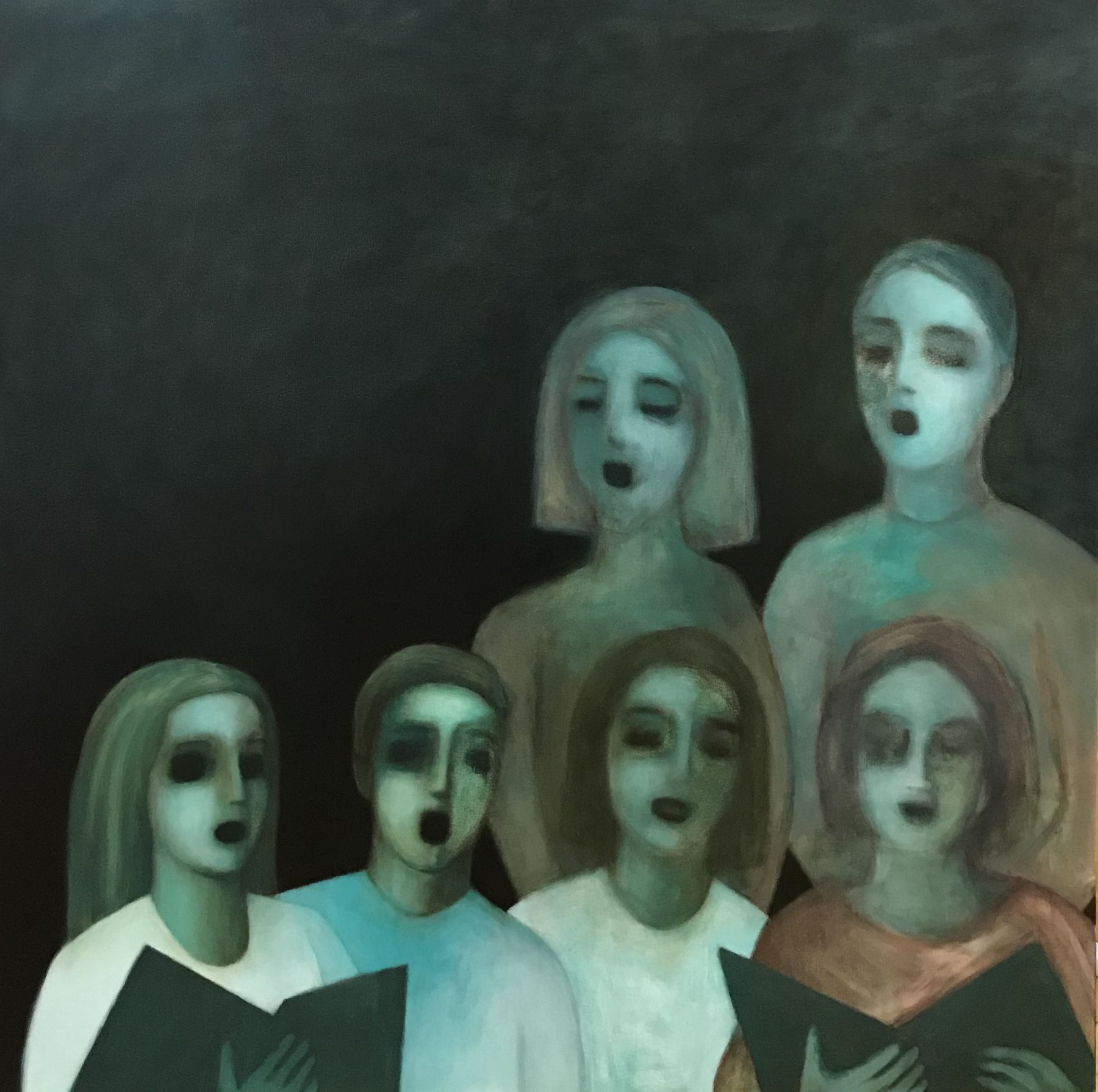 A painting by Ayse Wilson depicting a group of six people with hollowed black eyes singing in a choir