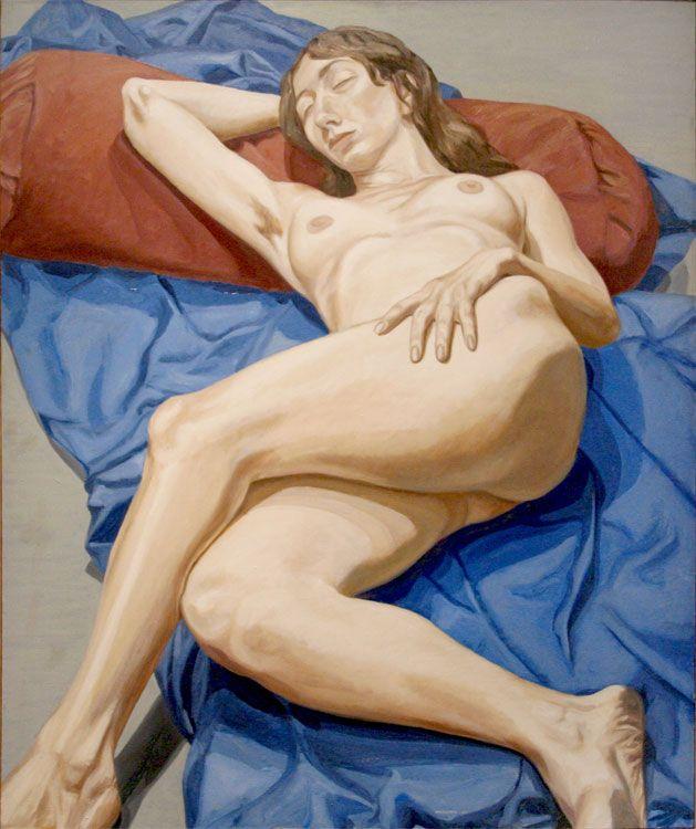 Image of Nude on a blue drape, 1964