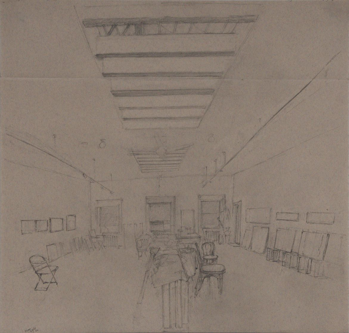 Studio Interior Looking East (II), 2016, Graphite on paper with blue and red threads