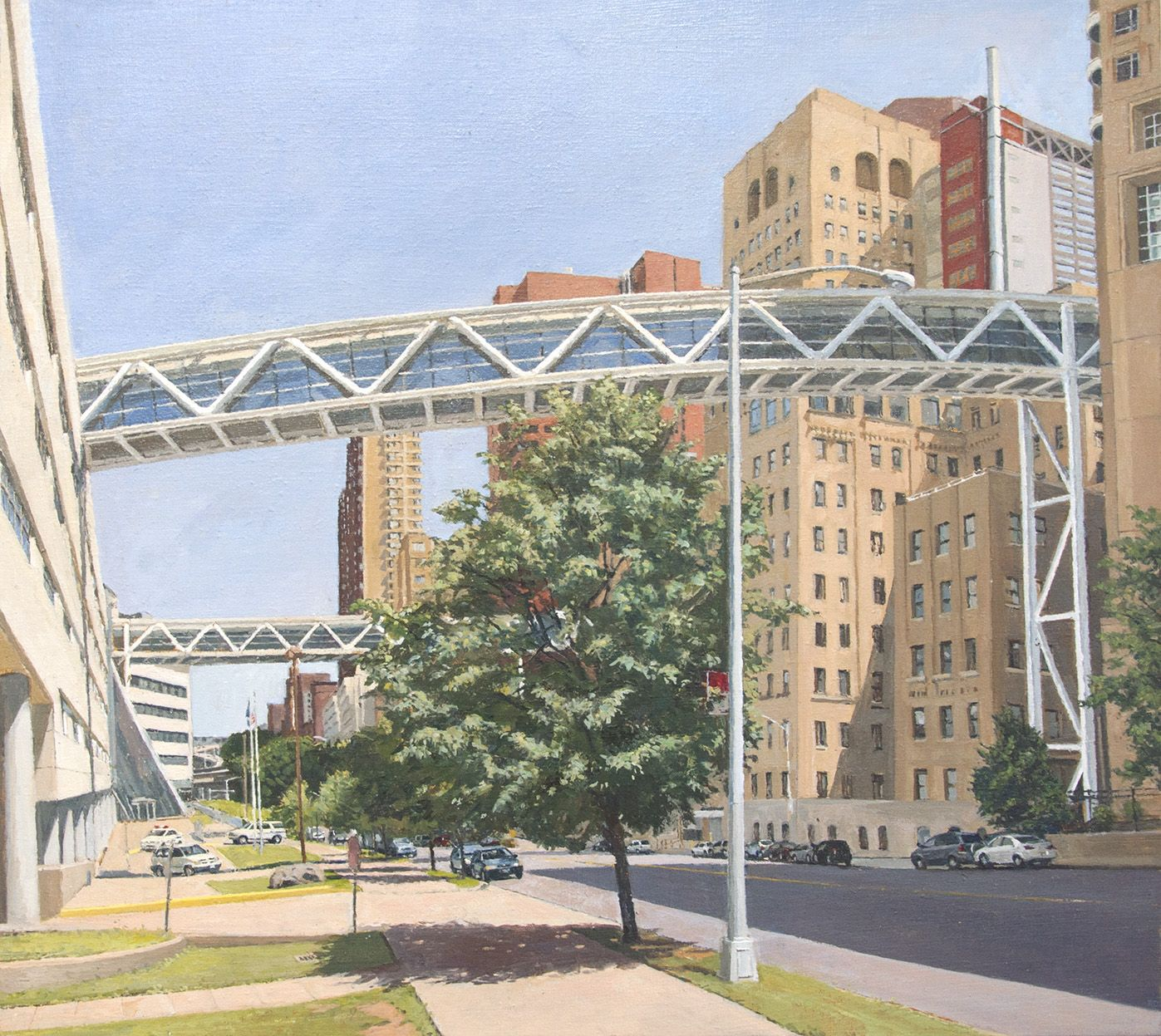 Columbia Presbyterian: Two Pedestrian Bridges Crossing Riverside Drive, 2013, Oil on canvas