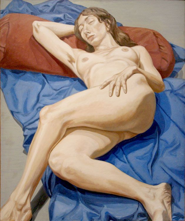 NUDE ON A BLUE DRAPE, 1964, Oil on canvas