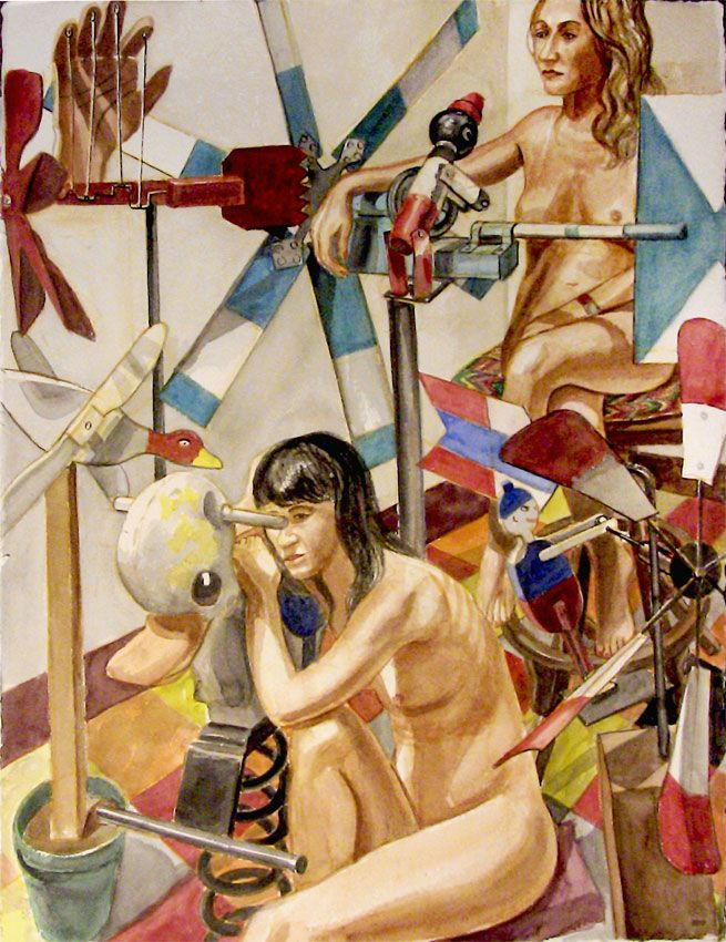 Philip Pearlstein, Two models with four whirlygigs and bouncy duckie,2007