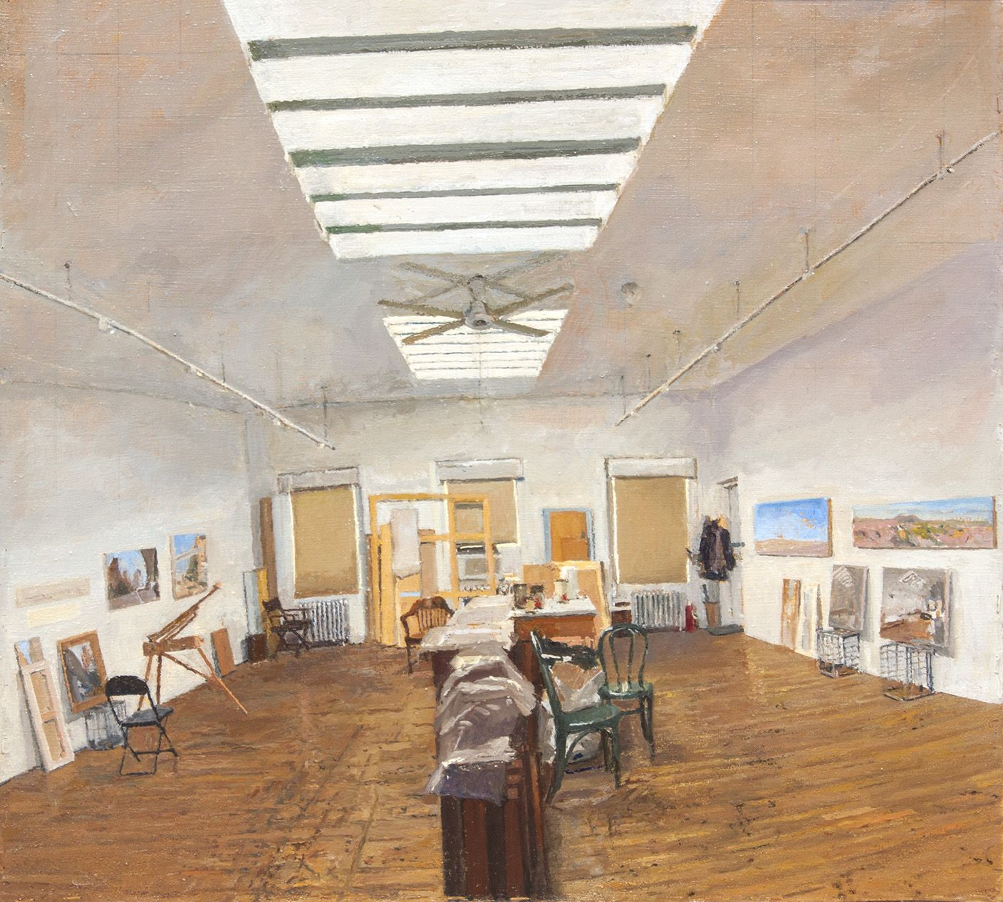 Studio with Two Skylights, 2017, Oil on canvas