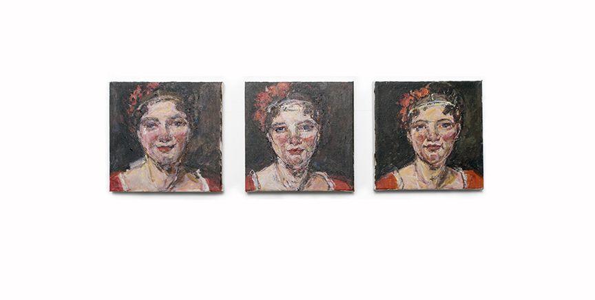 three paintings by Judy Glantzman