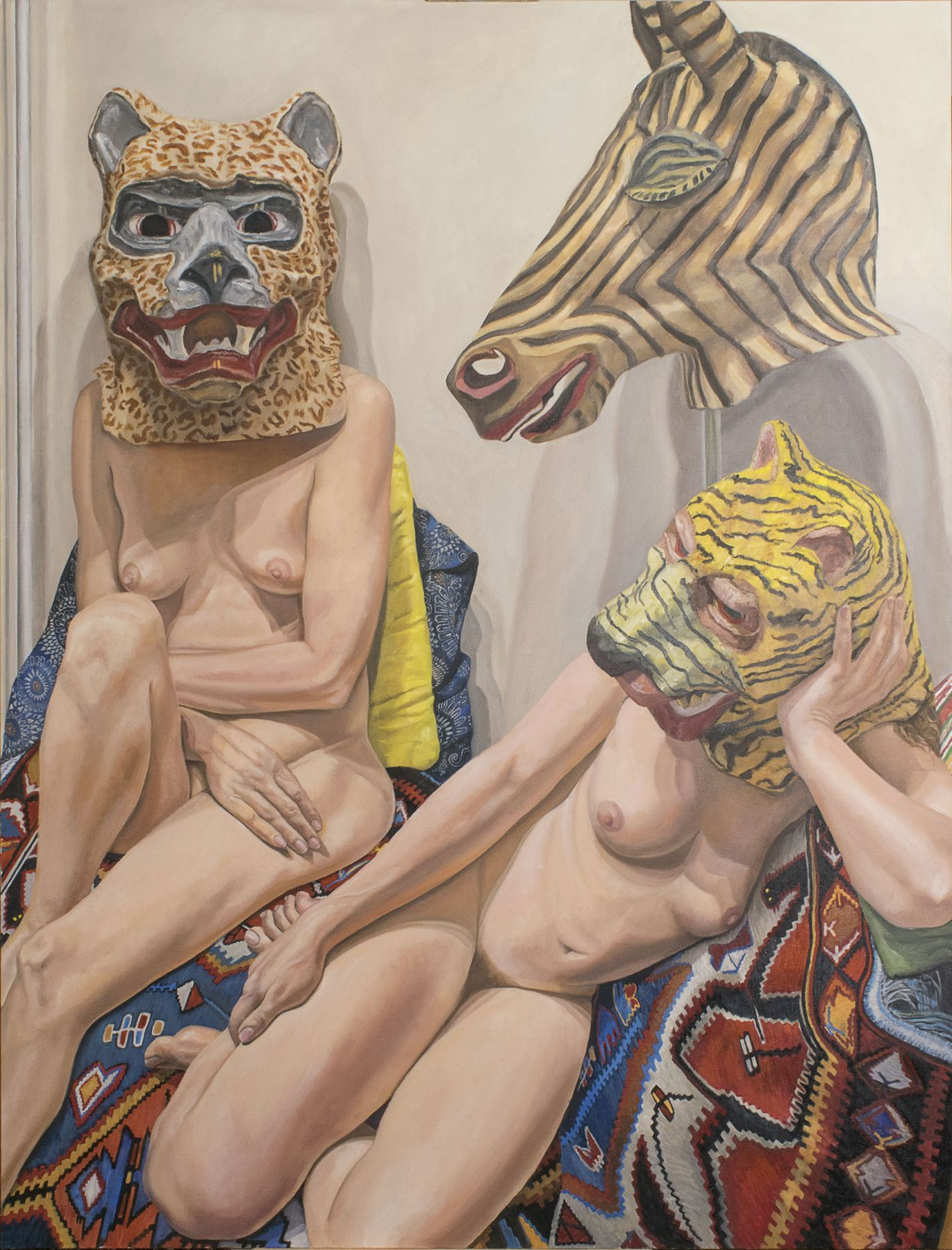 Philip Pearlstein Two Models with Three Masks with Turkish Rug, 2015