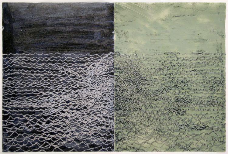 UNTITLED (DIPTYCH), 2008, Oil stick on vellum
