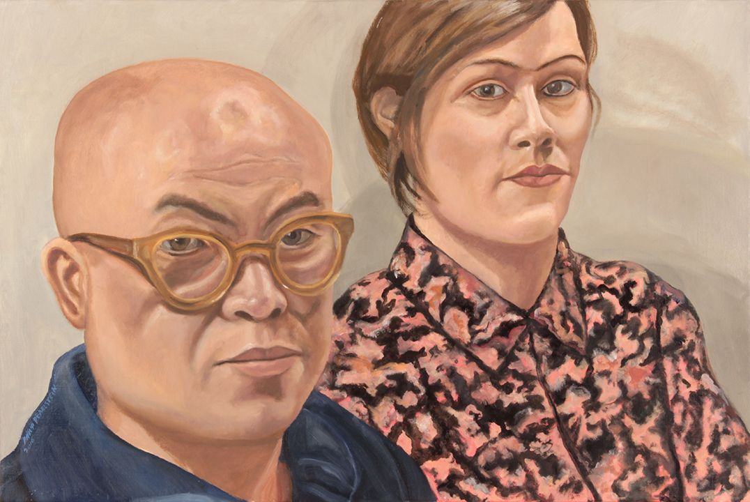 Portrait of Phong Bui and Nathlie Provosty, 2016, Oil on Canvas