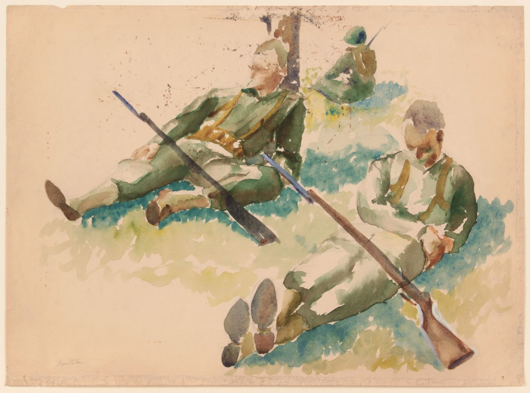 Philip Pearlstein Training in Florida (3 soldiers resting), 1943