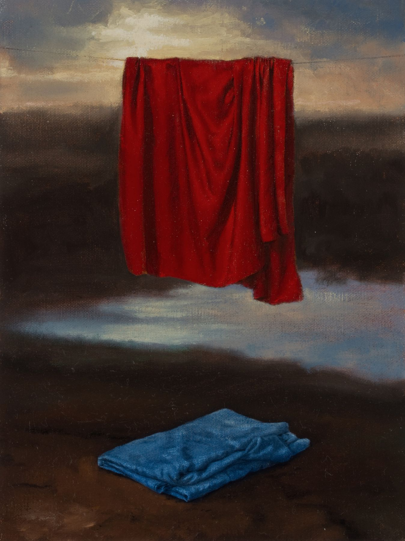 Untitled (red drape and blue drape)