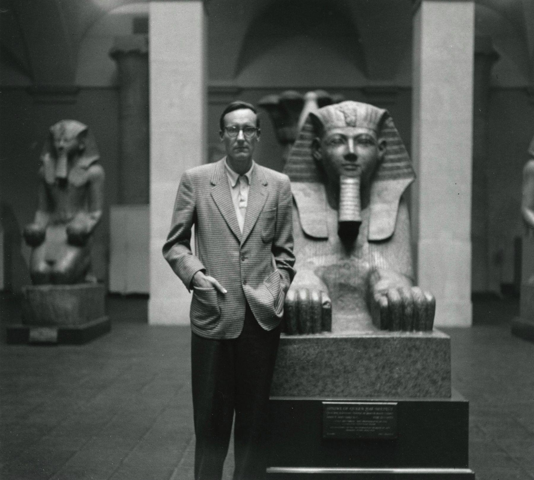 Allen Ginsberg - William S. Burroughs with Sphynx, Metropolitan Museum of Art, New York, 1953 - Howard Greenberg Gallery