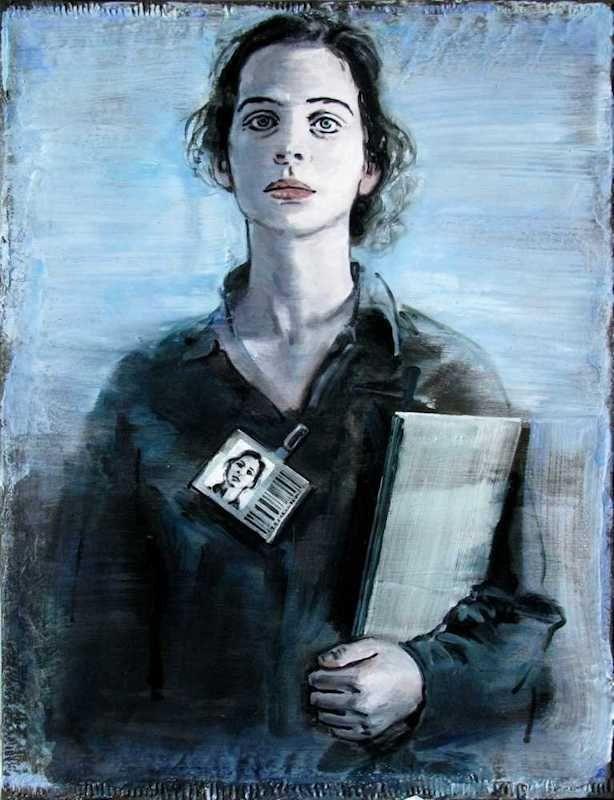 Pierre Lamalattie Collaboratrice avec son badge et parapheur painting peinture