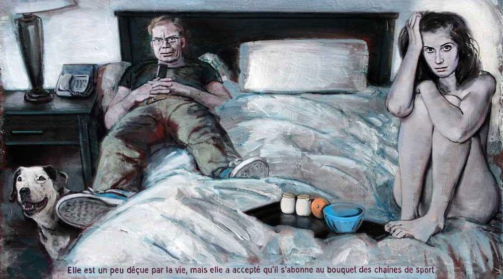 Pierre Lamalattie Elle est un peu déçue par la vie mais elle a accepté qu'il s'abonne au bouquet des chaînes de sport 2016 painting peinture