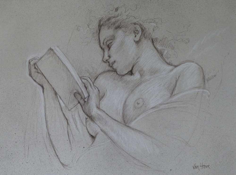 Francine Van Hove Que lit-elle dessin drawing