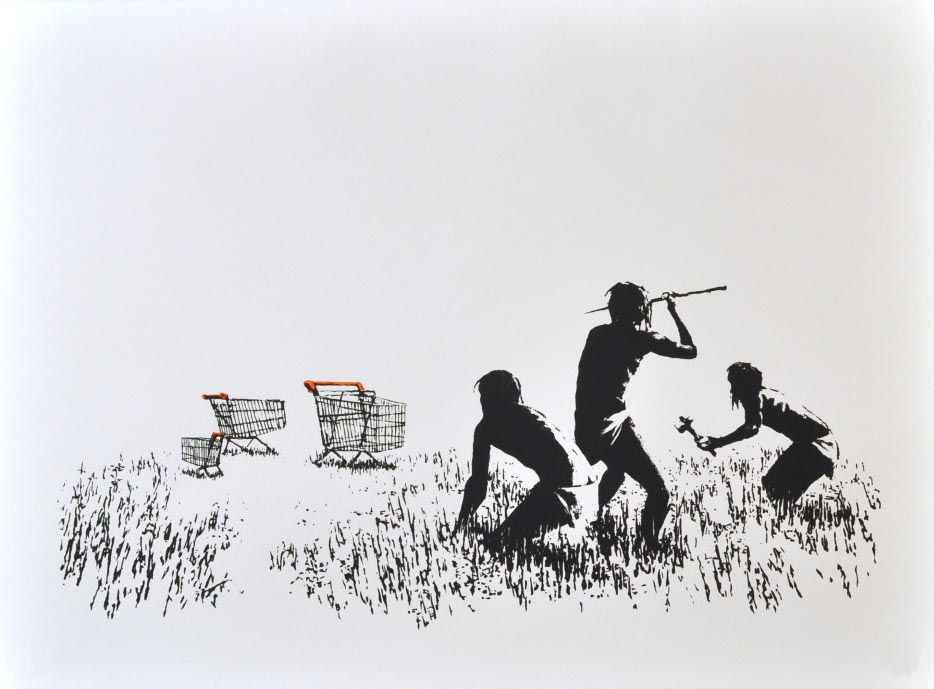 Banksy (b. 1974)  Trolleys (Black & White), 2007