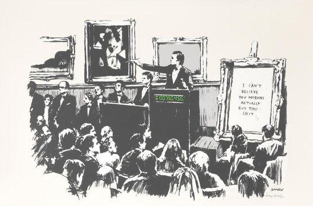 Banksy (b. 1974)  Morons (White), 2006
