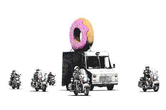 Banksy (b. 1974)  Donuts (Strawberry), 2009