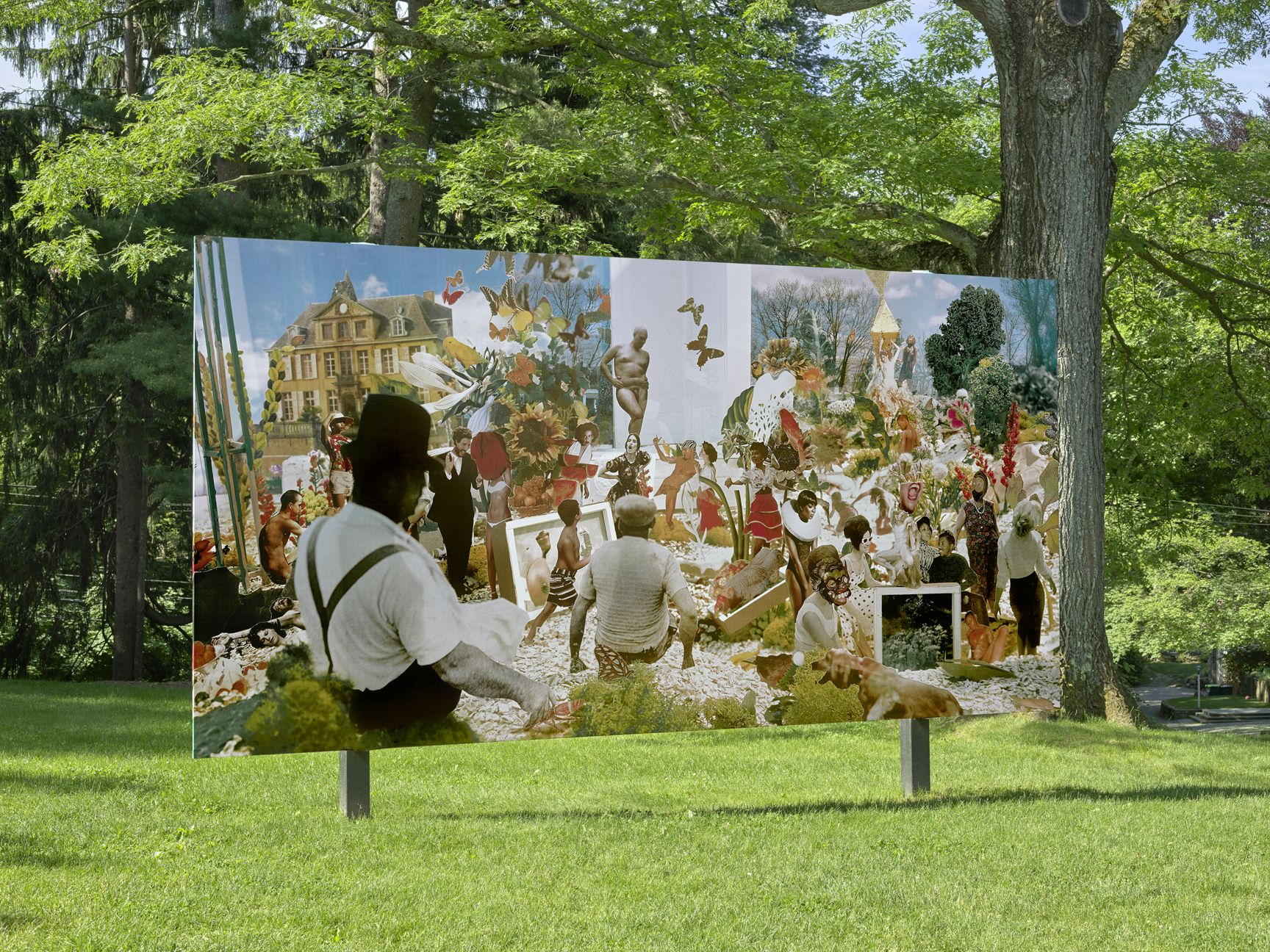 "PLATFORM 24: Wardell Milan, ""Sunday, Sitting on the Bank of Butterfly Meadow"", deCordova Sculpture Park and Museum, Lincoln, MA, 2019, installation view"