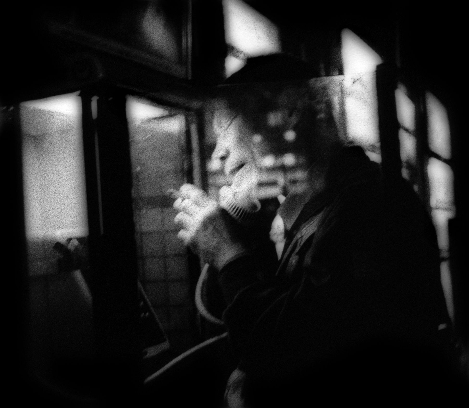 James Whitlow Delano, Mangaland, Night phone call and a smoke, Hatagaya, Tokyo, Japan, 2002, Sous Les Etoiles Gallery