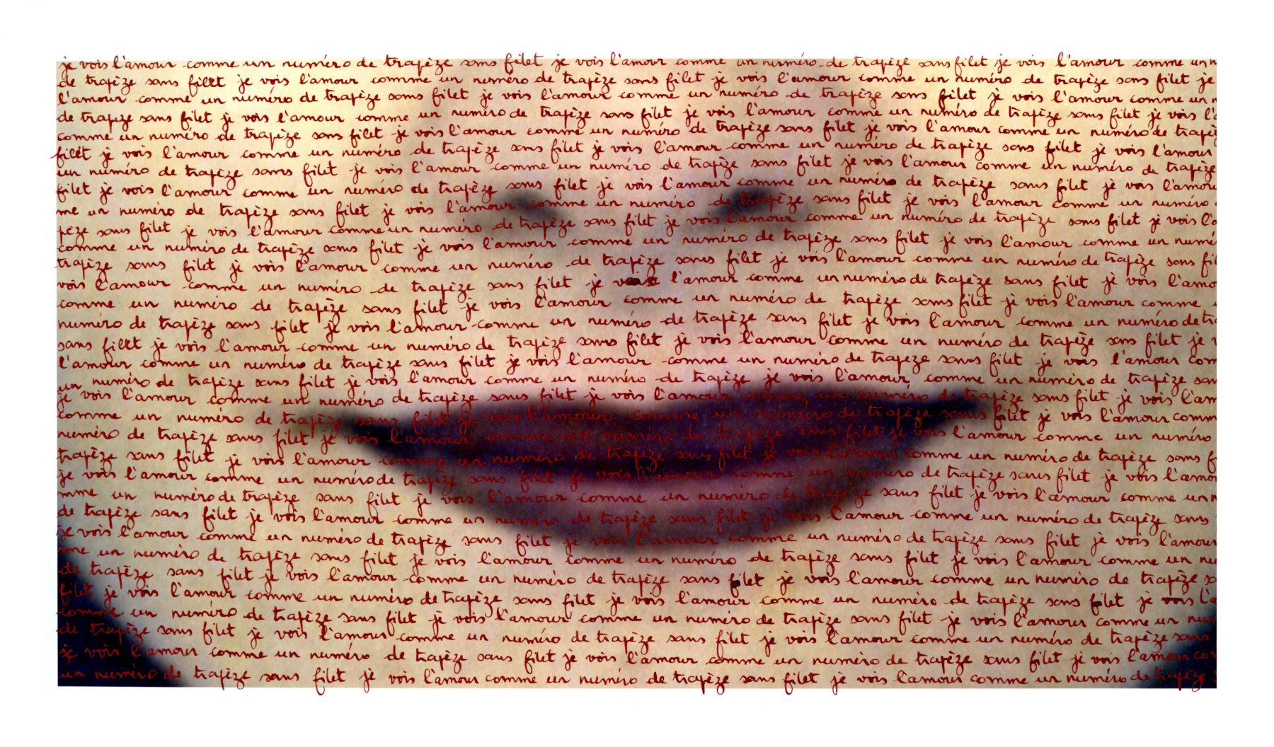 Carolle Bénitah, What cannot be said (Ce qu'on ne peut pas dire), je vois l'amour comme un numéro de trapèze sans filet (I see love as a trapeze without a net), 2013, Sous Les Etoiles Gallery