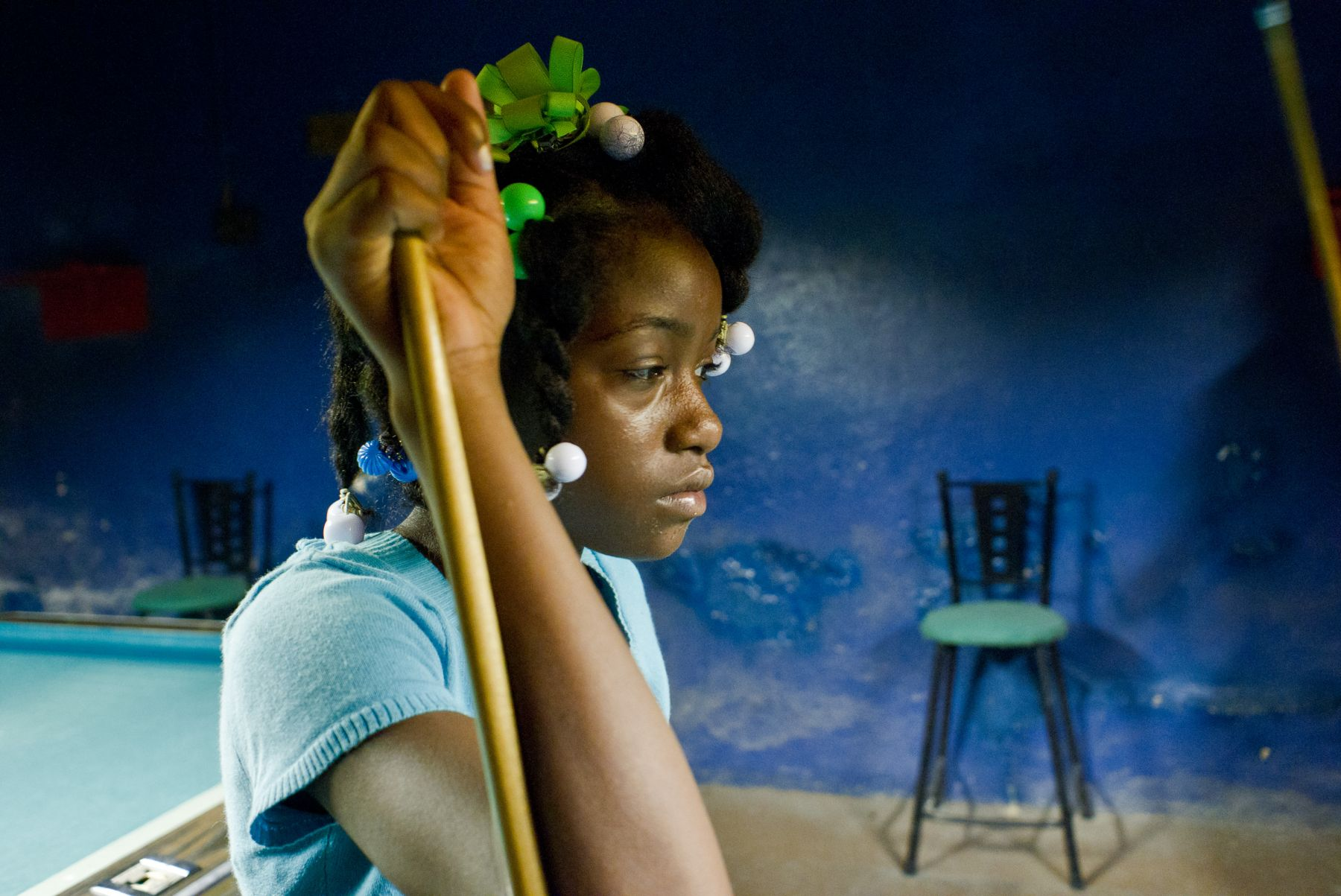 Magdalena Solé, Mississippi Delta, Girl with Pool Stick, Clarksdale, 2010, Sous Les Etoiles Gallery