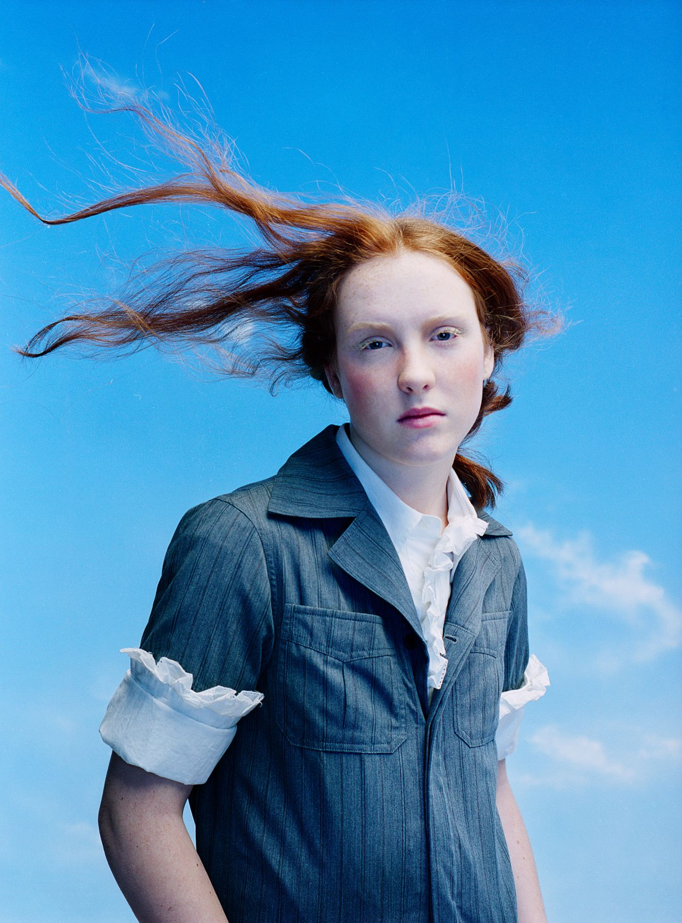 Sophie Delaporte, Early Fashion Work, Windblown red hair of young woman, Sous Les Etoiles Gallery