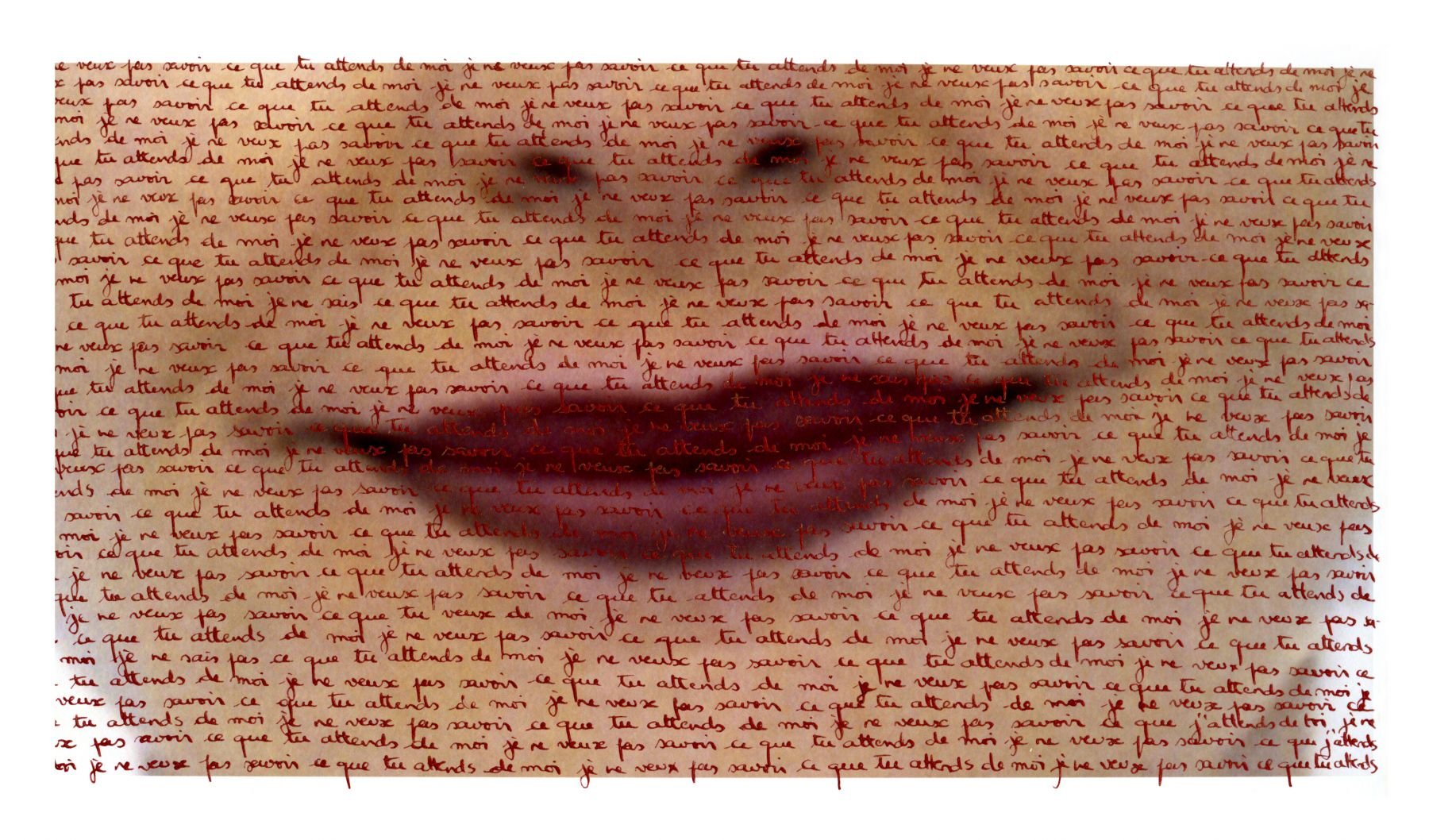 Carolle Bénitah, What cannot be said, Ce qu'on ne peut pas dire, lips, sentences, handwritten, 2013, Sous Les Etoiles Gallery, je ne veux pas savoir ce que tu attends de moi, I do not want to know what you want from me