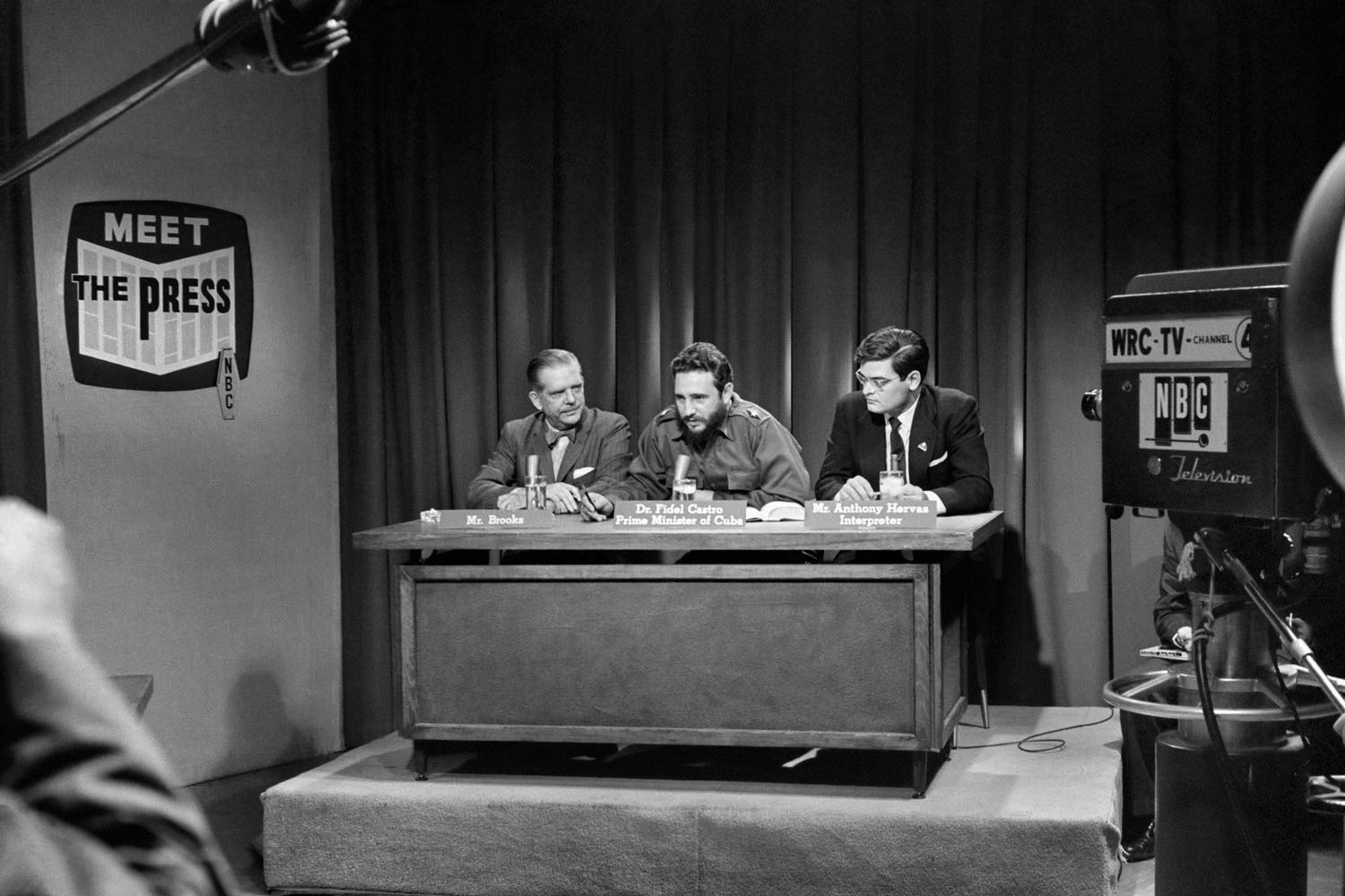Alberto Korda, Fidel Castro answering questions from journalists on Meet the Press, Washington, ​Sunday, April 19, 1959, Sous Les Etoiles Gallery