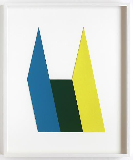 "ALT=""Kate Shepherd, Chunk Logo (blue, green, yellow), G14, 2012, Cut and taped screenprints"""