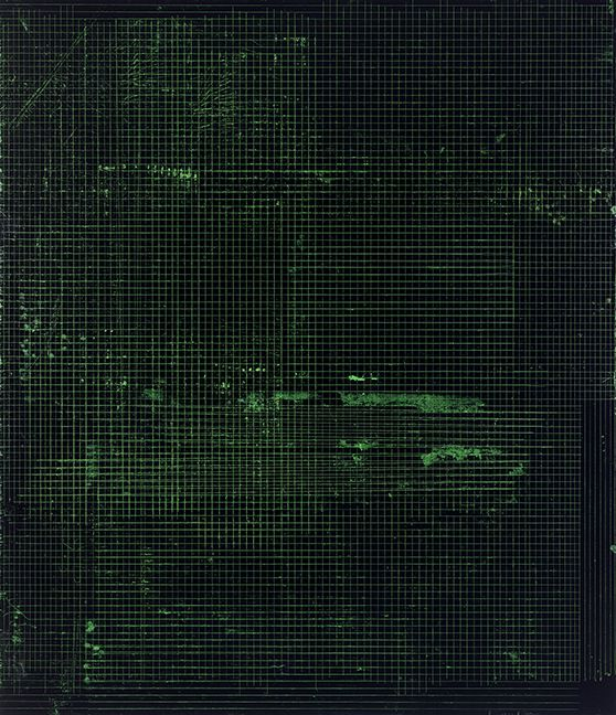 """ALT=""""Kate Shepherd, Night in Black and Green, 2016, Etching ink and enamel on wood panel"""""""