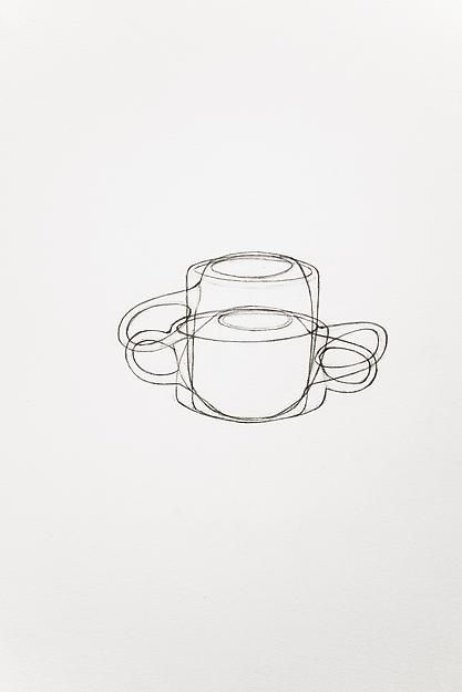 A Drawing of a Heath Mug and a Heath Cup, Drawn Both Right Side Up and Up Side ,