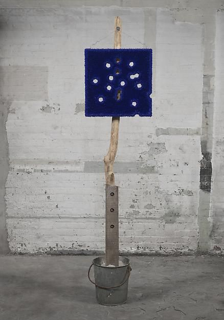 "ALT=""Donald Moffett, Lot 082011 (Cobalt and Its Troubling Perfection), 2011, Oil On Linen With Wood Panel Support, Galvanized Bucket, Concrete, Driftwood, Wood Post, Wire, Hardware"""