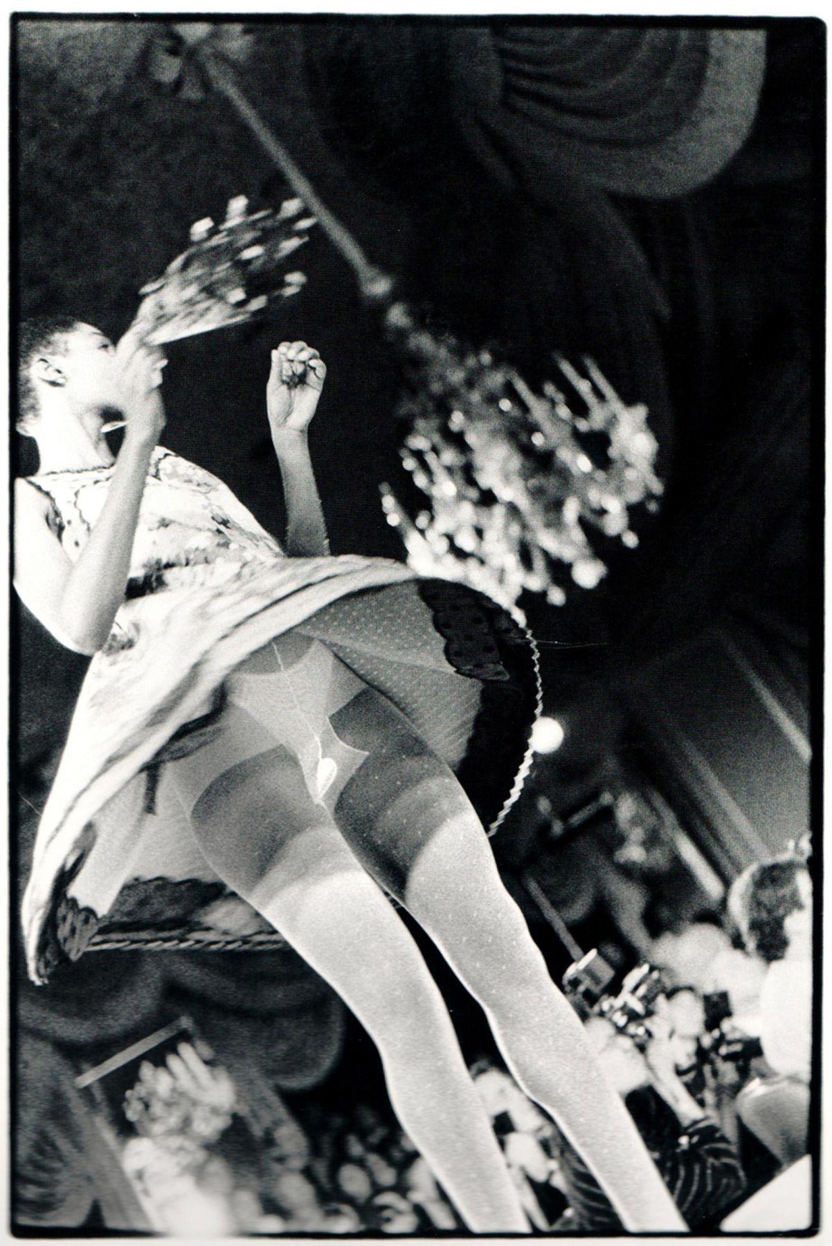 "ALT=""Zoe Leonard, Frontal View, Geoffrey Beene Fashion Show, 1990, Gelatin silver print"""