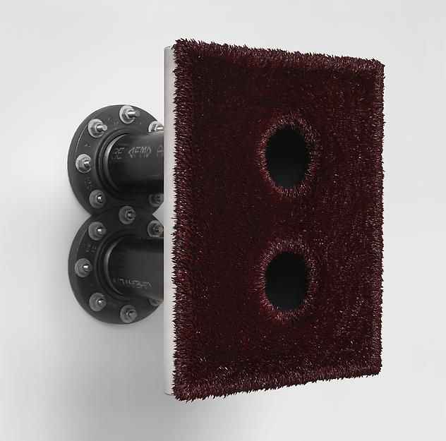 "ALT=""Donald Moffett, Lot 052612 (the crimson double), 2012, Oil on linen with wood panel support, with cast iron flanges, common black pipes and hardware"""