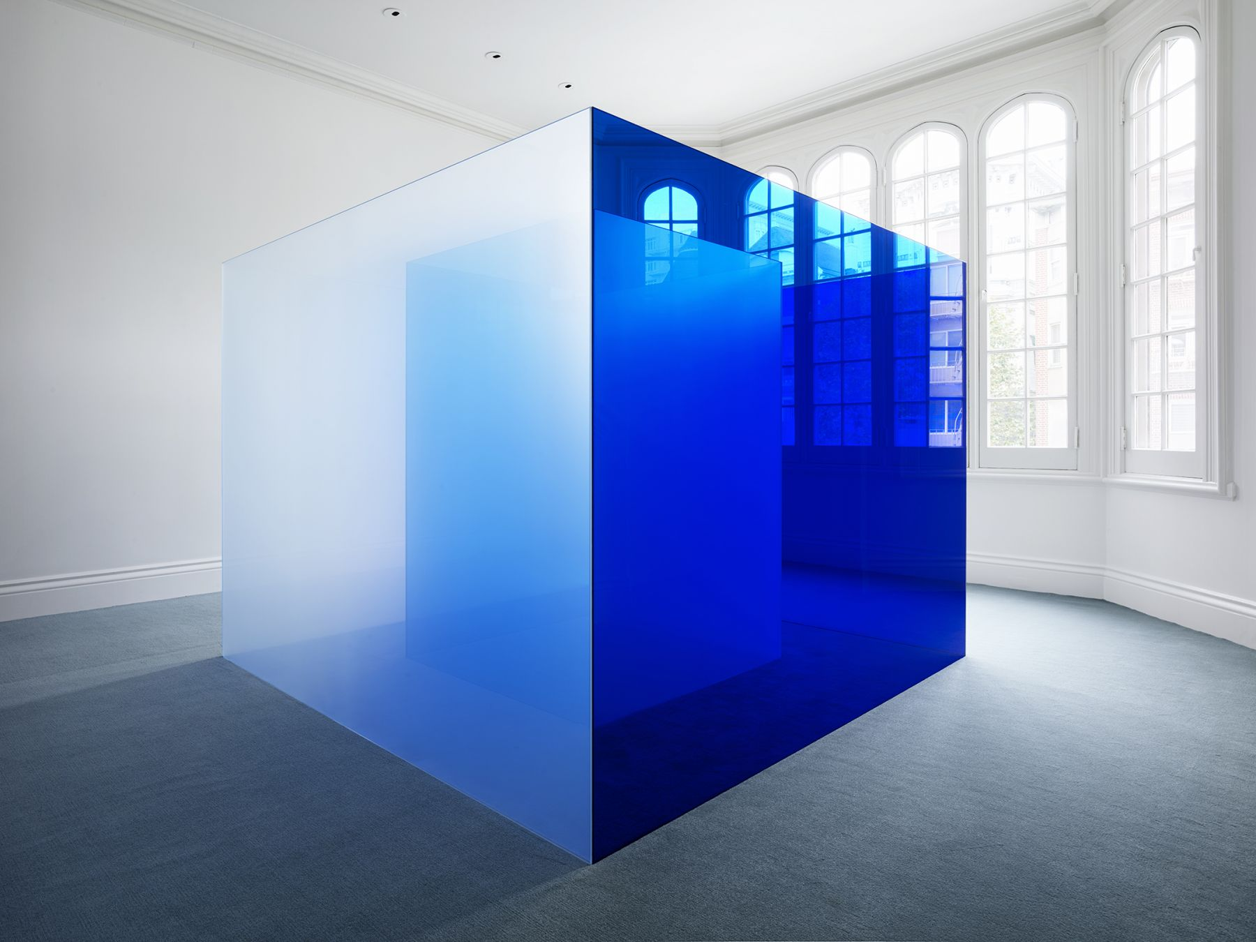 """ALT=""""Larry Bell, Bay Area Blues, 2018, Laminated Glass"""""""