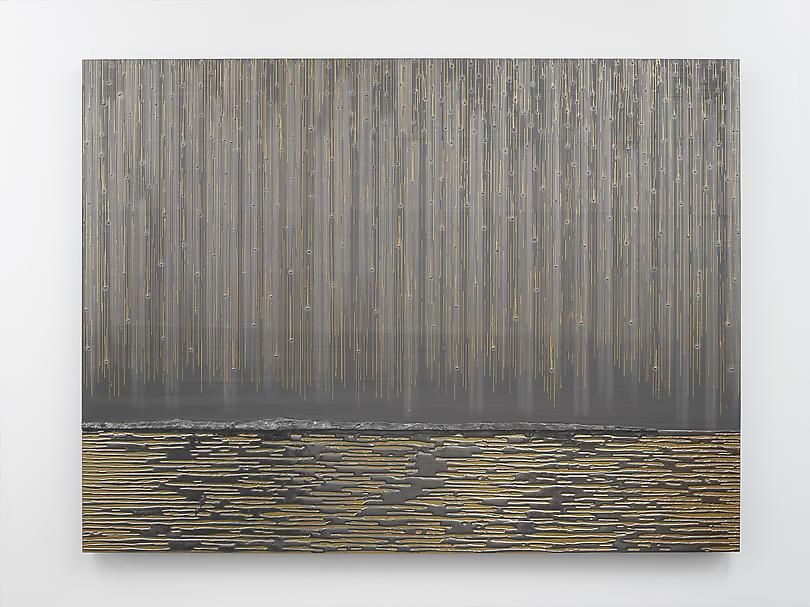 "ALT=""Teresita Fernández, Nocturnal (Gold Fall), 2014, Graphite and metallic paint on wood panel"""