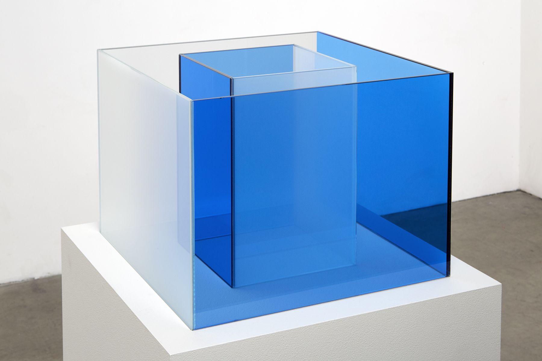 "ALT=""Larry Bell, Untitled Maquette (Cornflower Blue / True Sea Salt), 2018, Laminated glass"""