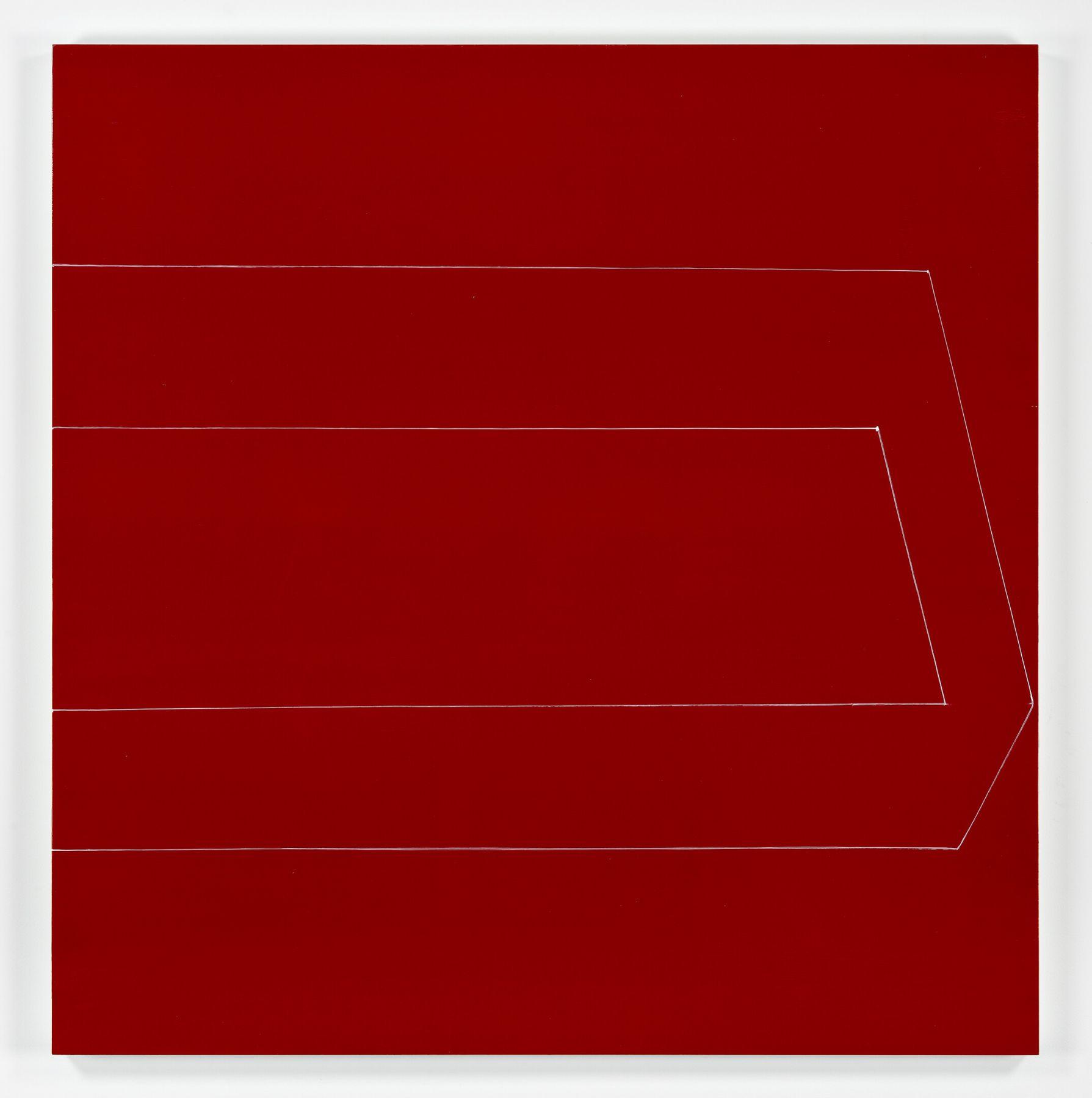Kate Shepherd, half box open eyed straight on red, 2019, Oil and enamel on panel