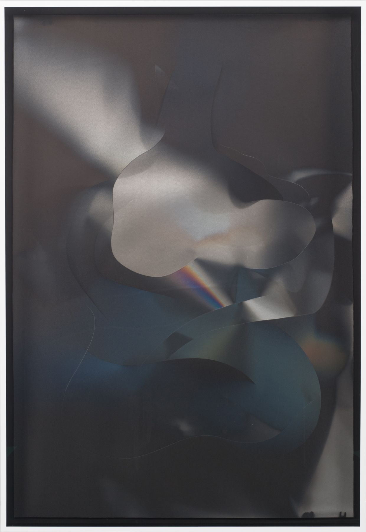 Larry Bell, CS 7.3.16B, 2016, Aluminum and silicon monoxide on Arches black paper mounted on canvas