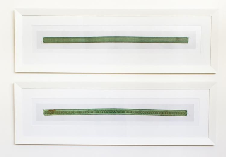 Two Photographs of Both Sides of a Green Ribbon, 2008,