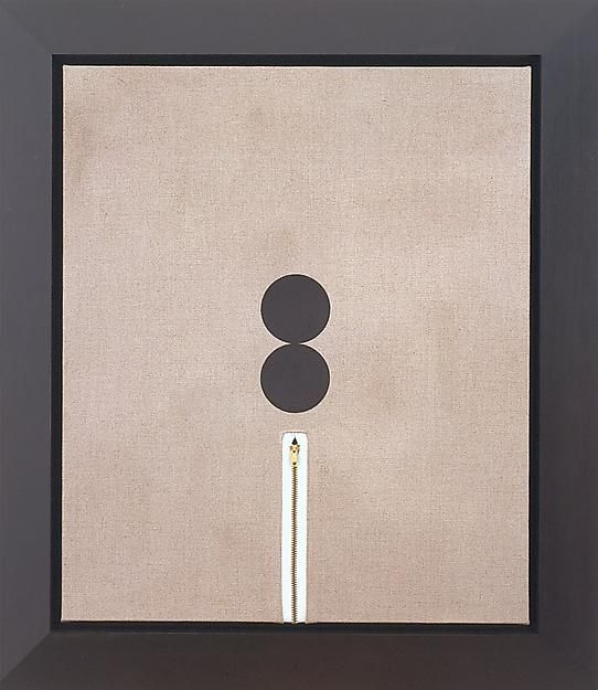 "ALT=""Donald Moffett, Lot 020807, 2007, Oil, rabbit skin glue on linen with rayon, steel zipper, in maple frame"""