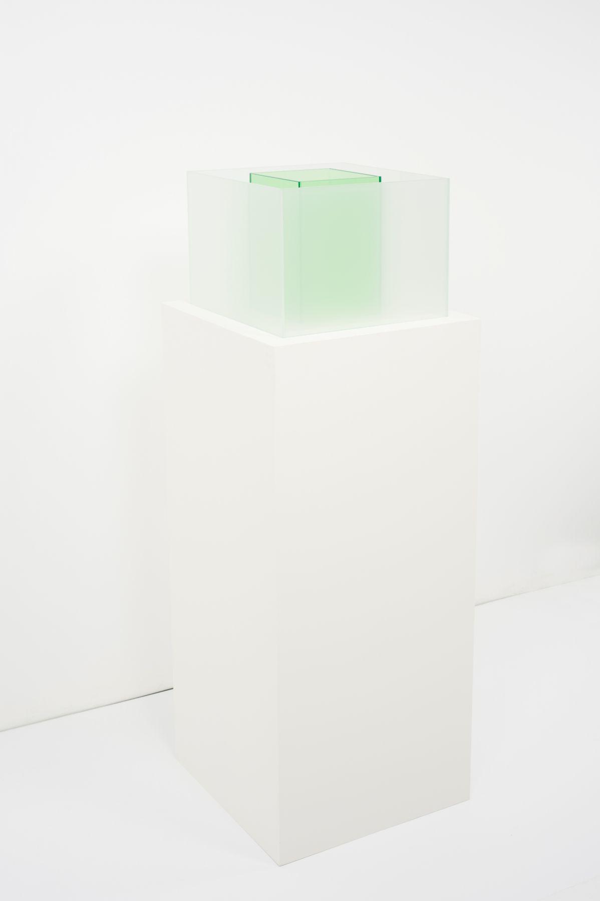 Larry Bell, Untitled Maquette (True Sea Salt / Kelp), 2018, Laminated glass