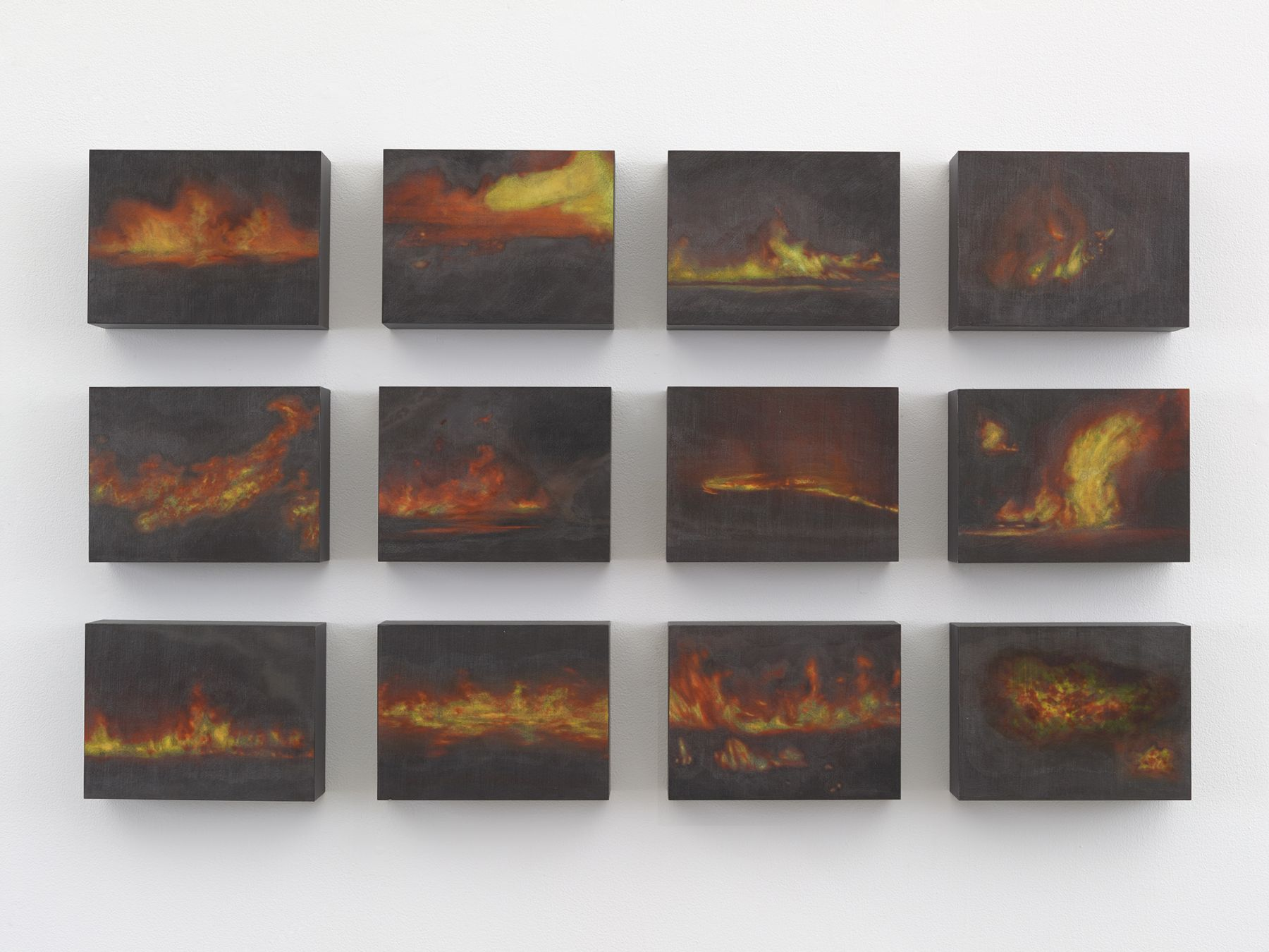 "ALT=""Teresita Fernandez, Small American Fires, 2016, Colored ink and pencil on wood panel"""