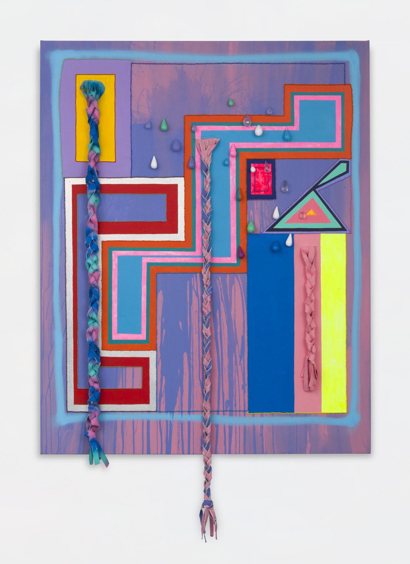 """ALT=""""Sarah Cain, three braids, 2017, Acrylic, silver leaf and beads on canvas"""""""