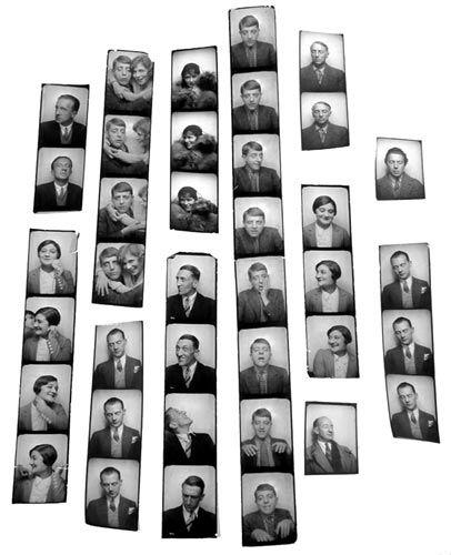 Unknown 11 tirages (certains comportant plusieurs portrits sur une meme bande). Diverses photographies faisant partie des photomatons utilises par AndréBreton pour encadrer le tableau de Magritte, 1929