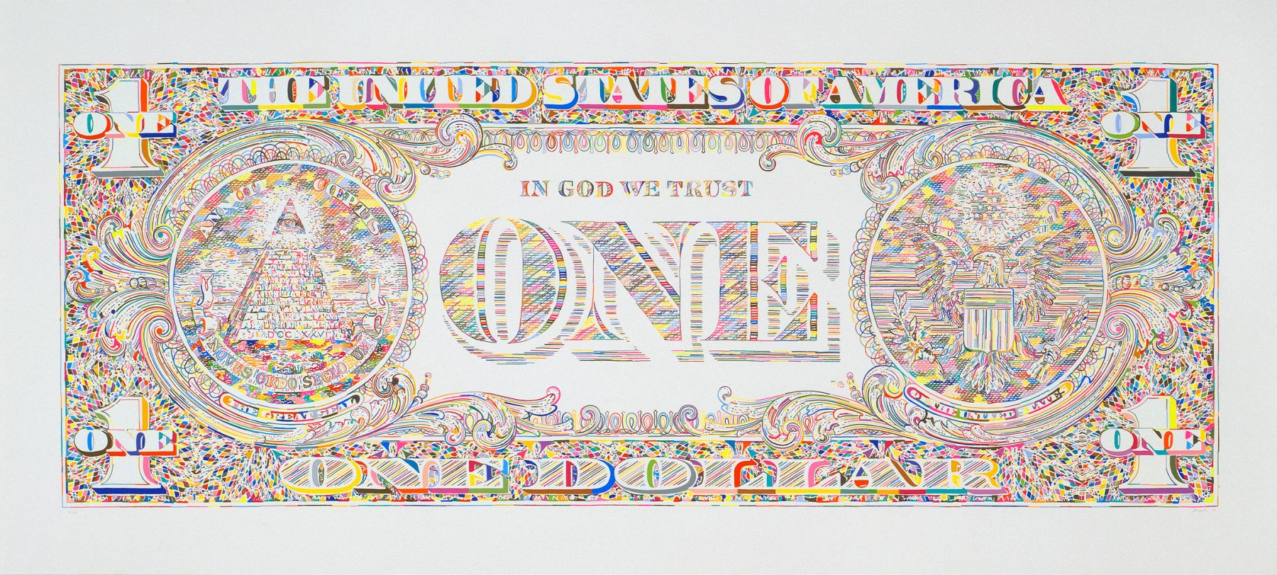 Tom Friedman, Untitled (dollar print, back), 2011,  Silkscreen print, Edition of 100