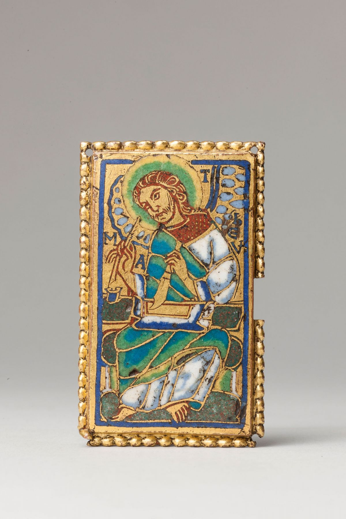 An enamelled plaque depicting Saint Matthew, from the tomb of Henry I, Cont of Champagne (d. 1181), Troyes Cathedral, Troyes,Champagne,France