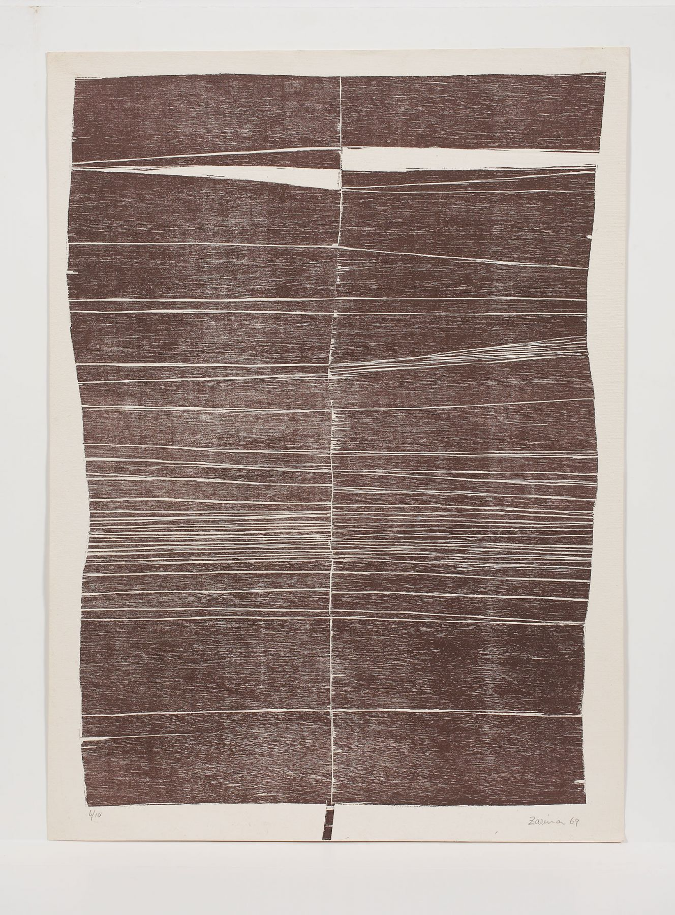 Zarina, Untitled, 1969,  Woodcut printed in burnt umber on Indian handmade paper, Edition of 20