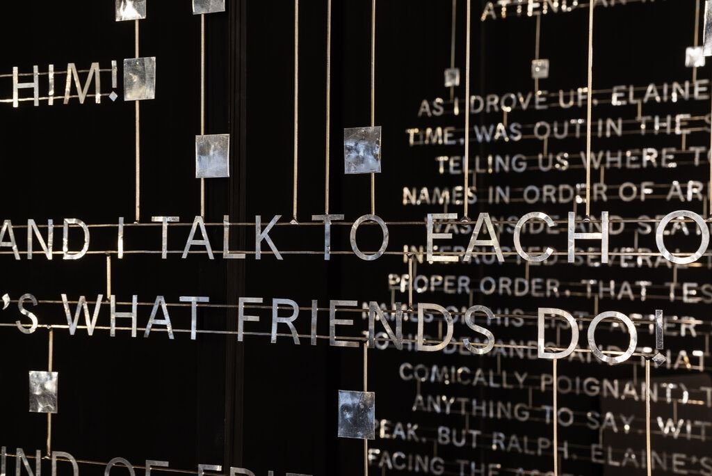 metal text sculpture