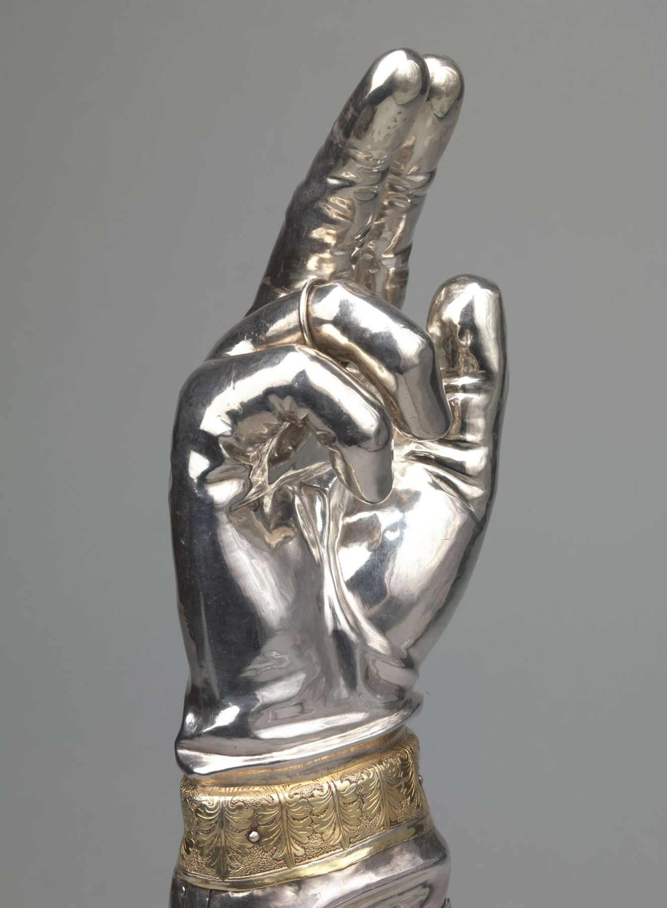 Jean Mamerot(acive Auxerre, 1535-after 1568), An arm reliquary of a bishop saint (detail)