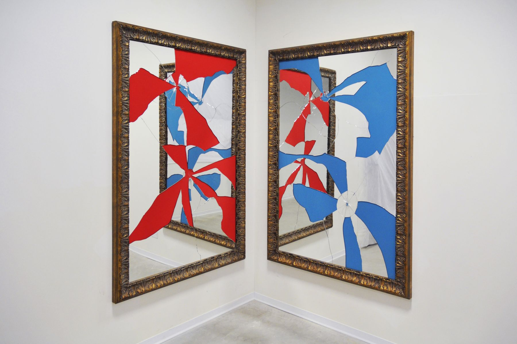 Two Less One Colored, 2015, Mirror, gilded wood